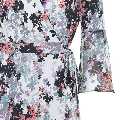 floral pattern flare wrap dress